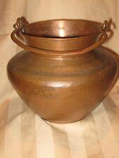 Vintage thick Hammered Planter Pot Kettle Vase basket handle super nice ...