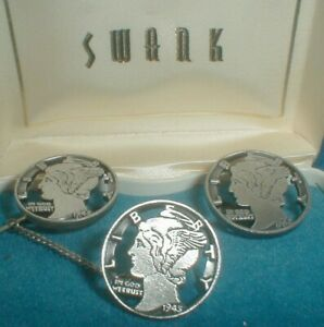 Vintage Swank MERCURY HEAD CUT OUT COIN CUFFLINKS & Tie Tack In Box RARE FIND!