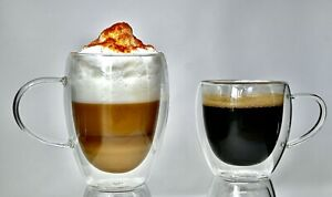 2 Pack, Double Wall Glass Coffee Mugs with Handle,Insulated Coffee Espresso Cups