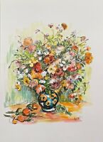 Print of my Original ink watercolour painting ART vase of flowers Shabby chic