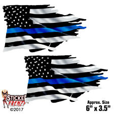 Thin Blue Line TATTERED Flag Sticker 2 Pack Police USA Vinyl Decal Car Truck