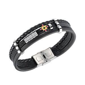Men's Leather Bracelet Stainless Steel Multilayer Black C.Z Wristband Bangle.