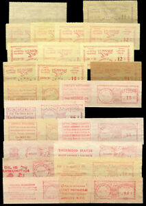 USA - Meter Strips - 1930s/50s - 23 Different - 11 With Advertising