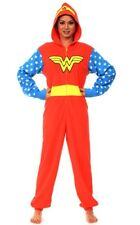 Wonder Woman Hooded Non Footed Pajamas Fleece 1 PC Costume Adult M L or XL NWT