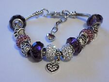 charm bracelet 925 Sterling Silver filled purple. with charms / beads 18cm