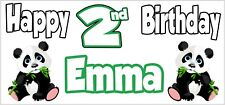Panda 2nd Birthday Banner x 2 - Party Decorations - Personalised ANY NAME