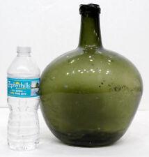 CRUDE LIP! Antique 1800's BLOWN GLASS Flattened Apple DEMIJOHN Bottle /A BEAUTY!