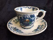 """Mason's vintage Fruit Basket blue demitasse cup & saucer 2 1/4"""" Great color"""