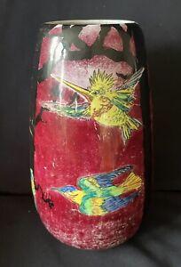 VINTAGE Royal Winton Grimewades BYZANTA WARE LUSTRE Vase Hummingbirds & Trees