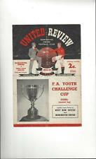 Manchester United v West Ham United Youth Cup Final Football Programme 1957