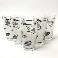 Libbey Silver Leaf Flat Juice Tumbler Set of 5 Frosted w Silver Leaves Pattern