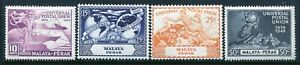 Malaya Perak 101-104, MH, UPU-75 1949 Plane Ship Hemisphere Globe
