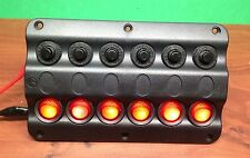 Marine Boat IP65 Switch Panel 6 Gang LED Switches & Circuit Breaker Wave Design