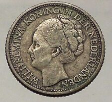1941 Netherlands Queen WILHELMINA 25 Cents Wreath Authentic Silver Coin i57796