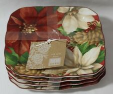 222 Fifth Poinsettia Holly Red Porcelain Square Appetizer Plates Set / Four New