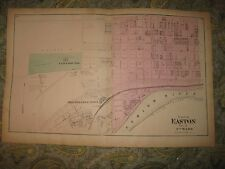 Antique 1874 Easton 7th Ward Northampton County Pennsylvania Handcolored Map Nr