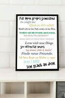 Einschulung Geschenk Schulkind erster Schultag Poster A4 Sprüche Motivation