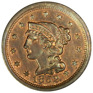 1852 LARGE CENT ~ BRAIDED HAIR ~ CHOICE RB UNCIRCULATED ~ RED & BROWN! INV#2