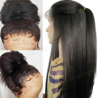Yaki Straight 360 Lace Front Wigs Real Malaysian Human Hair Full Wig Pre Plucked