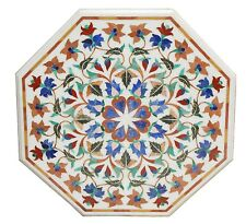 """24"""" White Marble Coffee Table Top Marquetry Inlay Furniture Mosaic Arts Decor"""