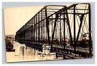 Vintage 1920's RPPC Postcard Women Hanging off Railroad Bridge in Mexico