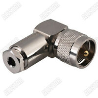 UHF PL259 Male Right Angle Clamp Connector For RG58 LMR195 RG400 RF Cable
