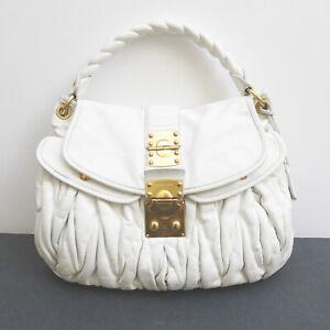 MIU MIU by Prada Leather Coffer Matelasse Hobo Shoulder Bag 100% Auth