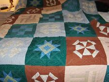 "76 1/2"" x 102"" Hand Quilted Sampler Full/Queen Quilt Vintage 1980'S Ohio Made"