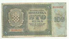 CROATIA RARE HRVATSKA 100 KUNA 1941 WWII THIS RARE NICE BANKNOTE VF
