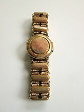 Victorian rolled gold hair receiver locket on stretch bracelet