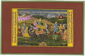 Indian Mughal Procession Painting Miniature Life Mogul Ethnic Wall Hanging Decor
