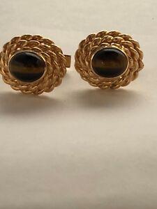 ELEGANT  14 KARAT YELLOW GOLD TIGER EYE CUFFLINKS WITH ROPING DESIGN.  23.5 GRS