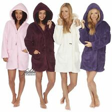 Ladies Robe Ladies Fleece Robe Ladies Short Hooded Dressing Gown Button Up