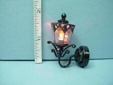 Miniature Battery Operated Light - Black Coach Lamp W9AMB Amber Bulb