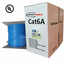 1000ft Cat6A Riser Cable UL Listed Bulk Ethernet CMR Network Wire  Blue