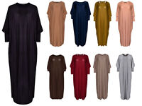 Womens Ladies Batwing Maxi Full Sleeve Dress Farasha Style Abaya Modest Jilbab