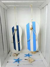 Decoración Colgante Decorativo Colgador Decoración Marítima Sandalia Azul Blanco De Madera De 20 Cm