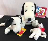 Lot 3 Cares Peanuts Set Snoopy & Woodstock Plush