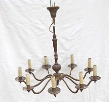Antique French Chandelier 9 Lights Cast Iron Renaissance Style 19th C