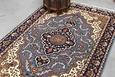 Indian Hand Knotted Medallion Rug Blue Wool 4'X6' Carpet Handmade Home Area Rug