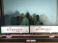 RTR ATHEARN 85'TT FLATCAR w/ 2 Nice Coragated Milwaukee 40' Trailers C7 NOS KDS