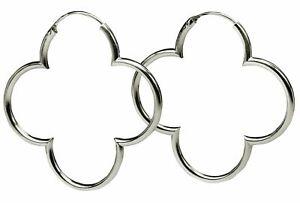 SILBERMOOS Damen Creolen Ohrringe Hoop Kleeblatt Blume groß 925 Sterling Silber
