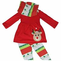 Girls Boutique 3 Piece Christmas Red Rudolph Legging Set 2t 3t 4t 5 6 7 8 Outfit