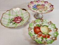 Vintage Kitchen Decor Collector Plates Lot of 3 Painted Fruits & Flowers
