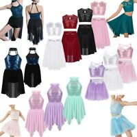 Girls Kids Sequins Ballet Dance Dress Lyrical Leotard Skating Dance Wear Costume