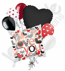 7 pc Trendy Hearts I Love You Heart Valentines Day Balloon Bouquet Be Mine