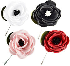 Black White Red Pink Fabric HandMade Lapel Pins Brooch Prom Corsage Costume Rose