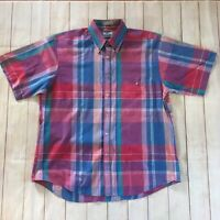 80s 90s Vintage 417 Van Heusen Multicolor Plaid Short Sleeve Botton Down Size L