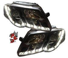 ECHTES LED TAGFAHRLICHT SCHEINWERFER VW PASSAT 3C B6 05-10 SCHWARZ DRL DIMMBAR