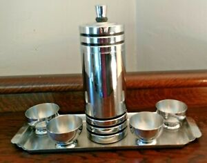Vintage Art Deco 1930s Chase Holiday Cocktail Shaker Set Chrome Gaiety Complete